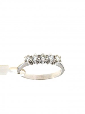 Fedina con 5 diamanti in oro bianco - fed-134