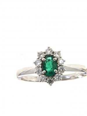 Anello con diamanti e smeraldo centrale ovale - sm-110