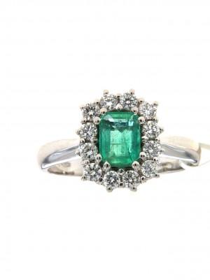 Anello con smeraldo ottagonale e contorno di brillanti - smer-104