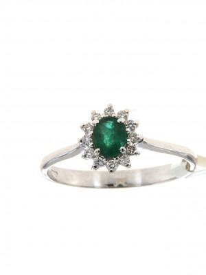 Anello con smeraldo ovale e brillanti - smer-116