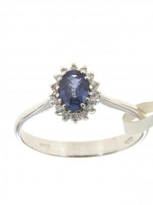 Anello di brillanti con zaffiro ovale - zaf-24