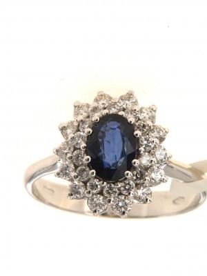 Anello con zaffiro ovale e doppio contorno di diamanti - zaff-32
