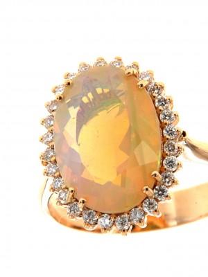 Anello in oro rosa 750 con opale etiope ovale e contorno di brillanti - opale.37