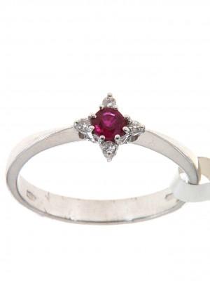 Anello fantasia con rubino rotondo e quattro brillanti - rub-1230