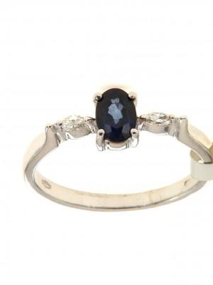 Anello fantasia in oro con zaffiro e diamanti taglio navette - zaf-0200