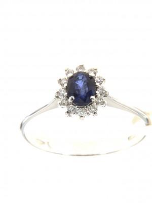 nello con contorno di diamanti e zaffiro centrale ovale - zaf-263